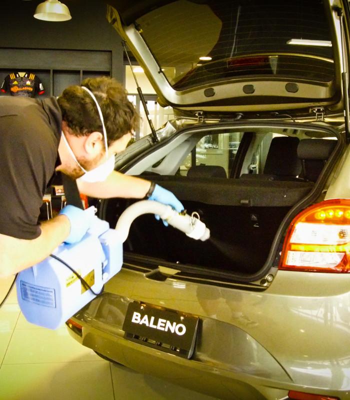 Applicator fogging rear compartment of hatchback