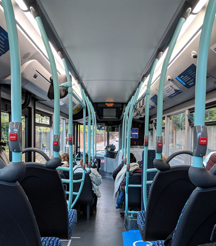 Interior of city bus after cleaning