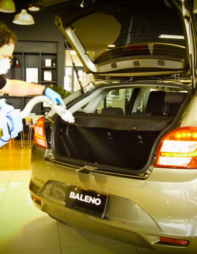 Applying microbe shield to rear boot - hatch area